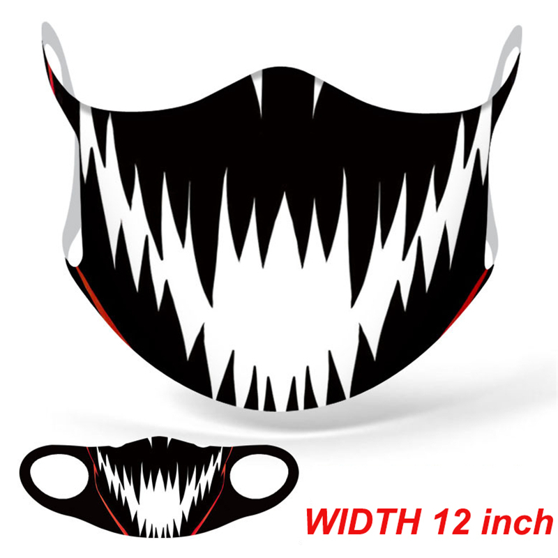 Marvel Superhero Venom Big Mouth Face Mask Adult Windproof Anti Dust Reusable Mouth Mask Washable Halloween Cosplay Face Mask 2