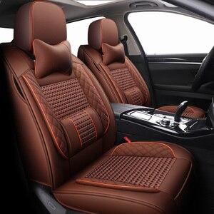 Image 1 - New Leather&ice silk car seat covers For Volkswagen 4 5 6 7 vw passat b5 b6 b7 polo golf mk4 tiguan jetta touareg accessories