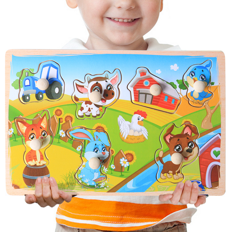 Environmentally Friendly Wooden Cartoon Animal Letters Children Early Education Puzzle Cognitive Hand Grasping Jigsaw Puzzle