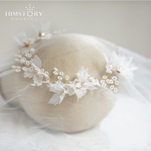 HIMSTORY 2019 Gorgeous Silk Yarn  Floral Bridal Headpiece Pearls Hair Jewelry Silver Color Wedding Accessories