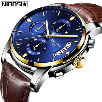 NIBOSI Relogio Masculino Quartz Wristwatch Men Watches Top Brand Luxury Sport Military Watch Men Leather Waterproof  Relogio genuine guanqin luxury brand gs19078 chronograph creative quartz watch men military sport leather wristwatch relogio masculino