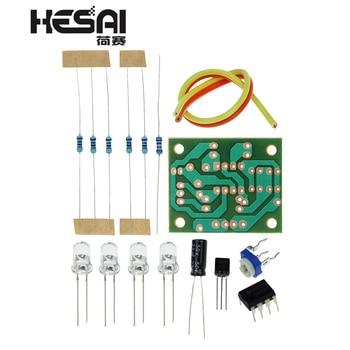 LM358 oddychające części świetlne elektroniczny zestaw do zabawy DIY niebieska migająca lampka elektroniczny zestaw do samodzielnego montażu