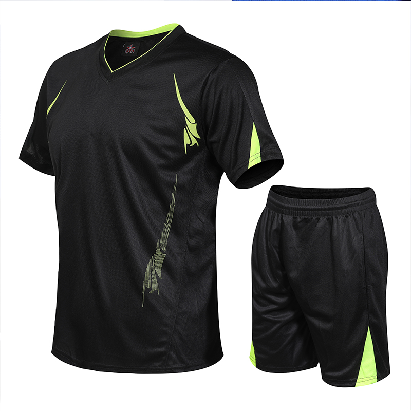running - Men's sportswear suit quick-drying running suit men's football T-shirt + sports shorts tracksuit jogging fitness sweatshirt suit