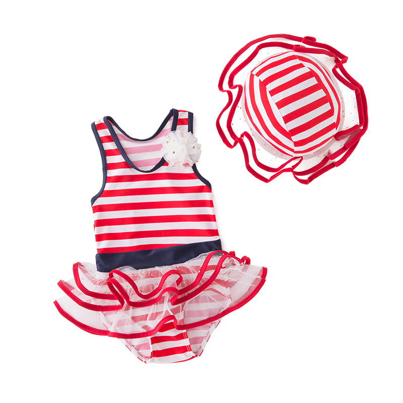 Short In Size Processing Women's One-piece Swimming Suit Red And White Striped Mesh Dress-KID'S Swimwear Hot Springs Clothing