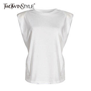 TWOTWINSTYLE Elegant Women Tank Tops O Neck Sleeveless Loose Ruched Streetwear Vest For Female Fashion Clothing 2020 Summer Tide