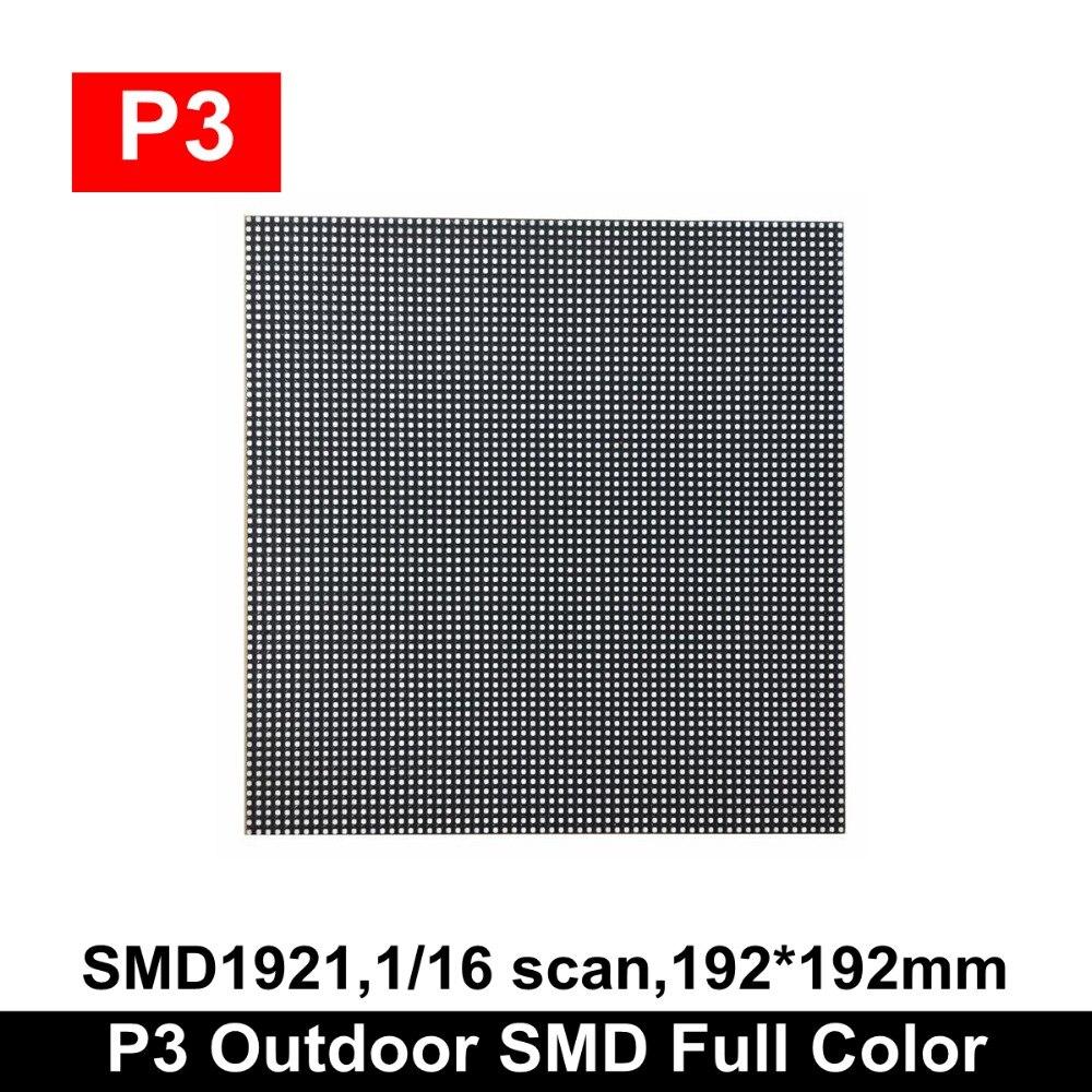 2019 新加入屋外 SMD P3 RGB LED パネルモジュール 192 × 192 ミリメートル、 1/16 スキャンフルカラー LED ビデオウォール屋外 P3 LED パネル 64 × 64 ピクセル  グループ上の 電子部品 & 用品 からの LED ディスプレイ の中 1