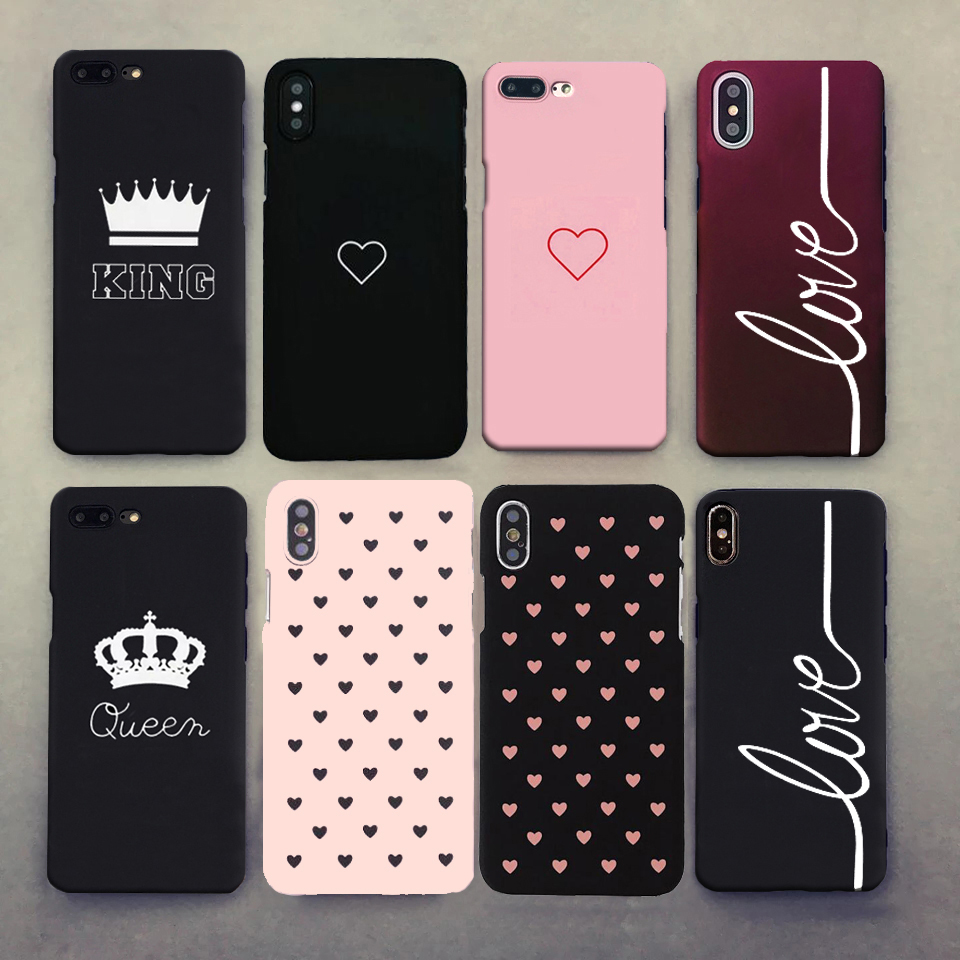 Hard Heart Love King Queen Pink Phone Case For iphone X 6 7 8 5 5s se Case Cover For Funda iphone 6s 6 s XS Max XR 8 7 Plus Case