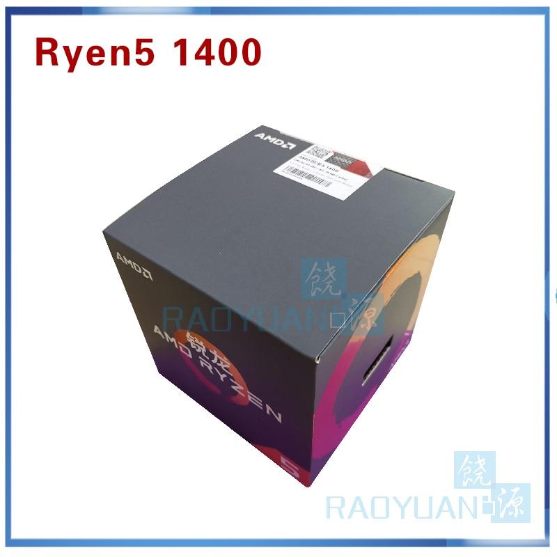 New AMD Ryzen 5 1400 R5 1400 R5-1400 3.2 GHz Quad-Core CPU Processor YD1400BBM4KAE Socket AM4 With Cooling Fan