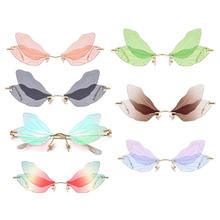 Moda Rimless Dragonfly Wing okulary przeciwsłoneczne damskie Vintage jasne szkła z efektem oceanu okulary mężczyźni różowe żółte okulary odcienie UV400 tanie tanio CAR-partment CN (pochodzenie) Dropshipping