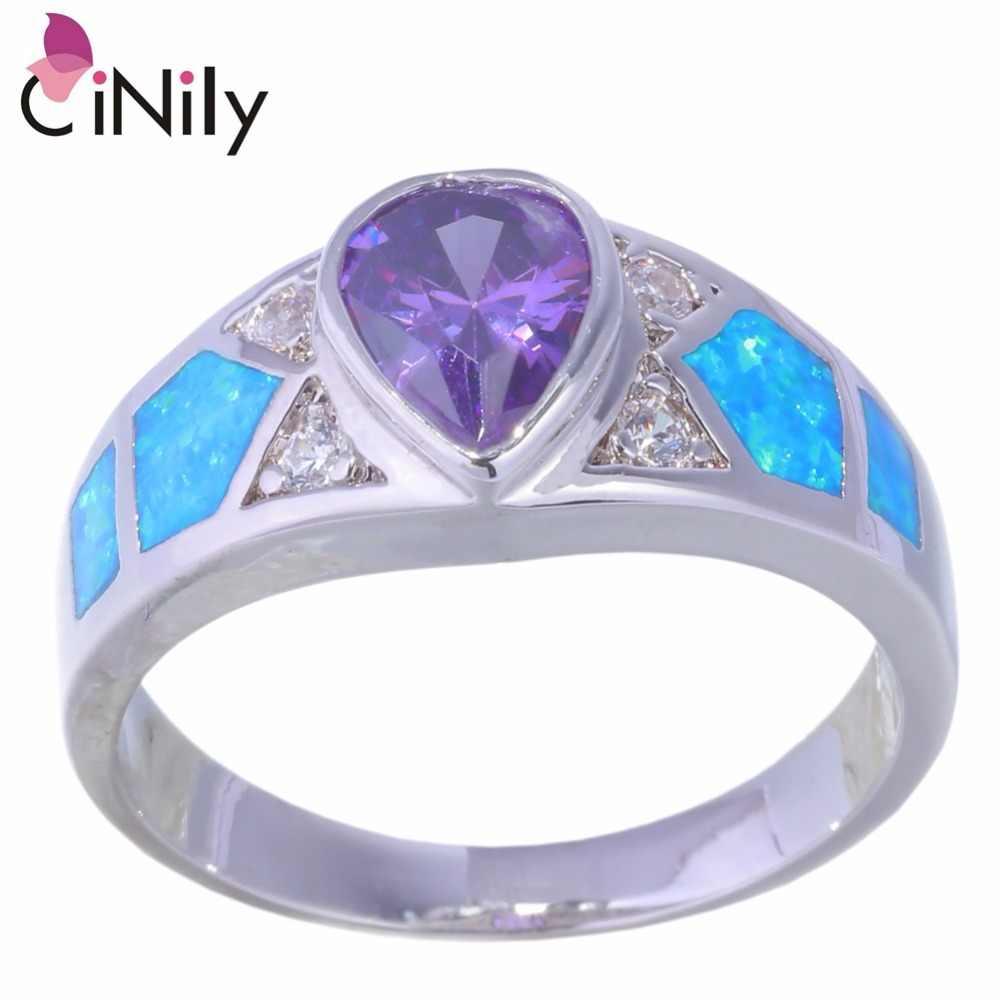CiNily Creato Blu Opale di Fuoco Viola Pietra Cubic Zirconia Argento Placcato All'ingrosso per Monili Delle Donne Ring Size 6 6.5-8.5 OJ9312