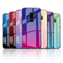 Coque Etui Gradient Tempered Glass Case For Samsung Galaxy