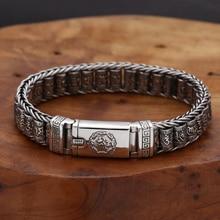 S925 Стерлинговое Серебро, винтажный шестисимвольный тумблер, браслет для мужчин и женщин, тайское серебро, ретро изысканный браслет с бусина...