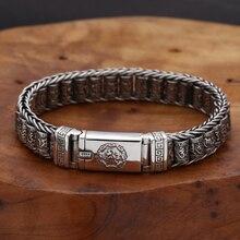 S925 prata esterlina vintage seis-personagem tumbler pulseira masculino feminino thai prata retro requintado balde contas pulseira jóias