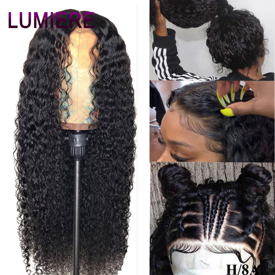 Lumiere Hair 360 Lace Frontal Wig Pre Plucked With Baby Hair Malaysian Deep Wave Wig Non-Remy 100% Human Hair Wigs For Woman 1B