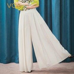 VOA White Jade 46 Mmi Stripe Stakes Stitched Folds Slash Bag TwistIng Straight Silk Broad Leg Skirt Pants K1213