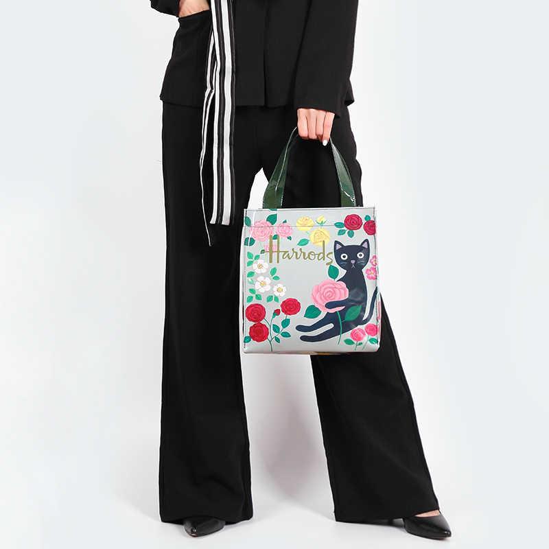 Gaya London PVC Dapat Digunakan Kembali Tas Belanja Tas Wanita Ramah Lingkungan Bunga Pembelanja Tas Tahan Air Tas Makan Siang Tas Tas Bahu