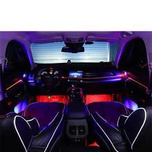 12 В от 1 до 5 звуковая активная EL неоновая полоса светильник RGB Светодиодный светильник для салона автомобиля многоцветный атмосферный светильник с Bluetooth для управления телефоном