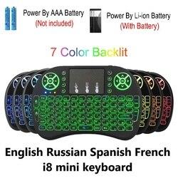 2.4G I8 Bàn Phím Mini Không Dây Bàn Phím Backlit Chuột Tiếng Anh Nga Tây Ban Nha Pháp Điều Khiển Từ Xa Dành Cho Android TV Box