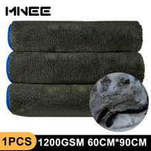 1 sztuk detale samochodów 1200GSM szmatka do czyszczenia samochodu 60X90cm z mikrofibry ręczniki do osuszania detali samochodów do polerowania do mycia samochodu akcesoria odzieżowe