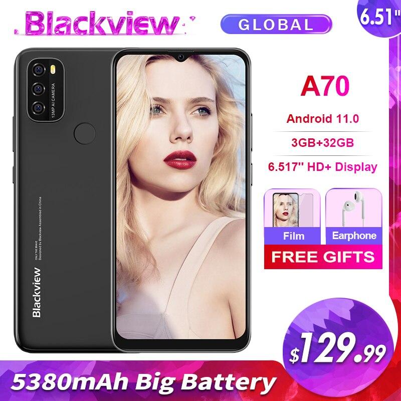 Blackview A70 3GB+32GB 5380mAh Android 11.0 Octa Core Smartphone 6.51'' HD+ 13MP Rear Camera Face ID Fingerprint 4G Mobile Phone 1
