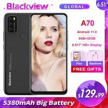 Blackview a70 3gb + 32gb 5380mah android 11.0 octa núcleo smartphone 6.51 hd hd hd + 13mp câmera traseira face id impressão digital 4g telefone móvel