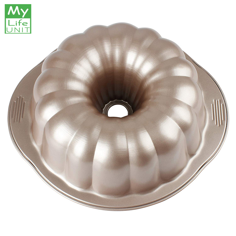 MyLifeUNIT Bundt Cake Pan 10-Inch Carbon Steel Non-Stick Pumpkin-Shaped Bakeware with Handles for Oven Baking