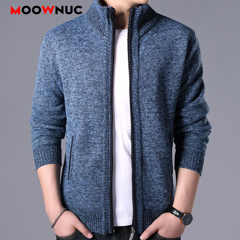 Sweaters 2020 Spring Male Fashion Cardigan Homme Mens clothes Thick Slim Fit Keep Warm Men Solid Smart Casual Sweaters MOOWNUC(China)