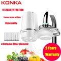 Konka mini torneira da cozinha purificador de água lavável cerâmica percolador filtro de água filtro ferrugem bactérias remoção substituição