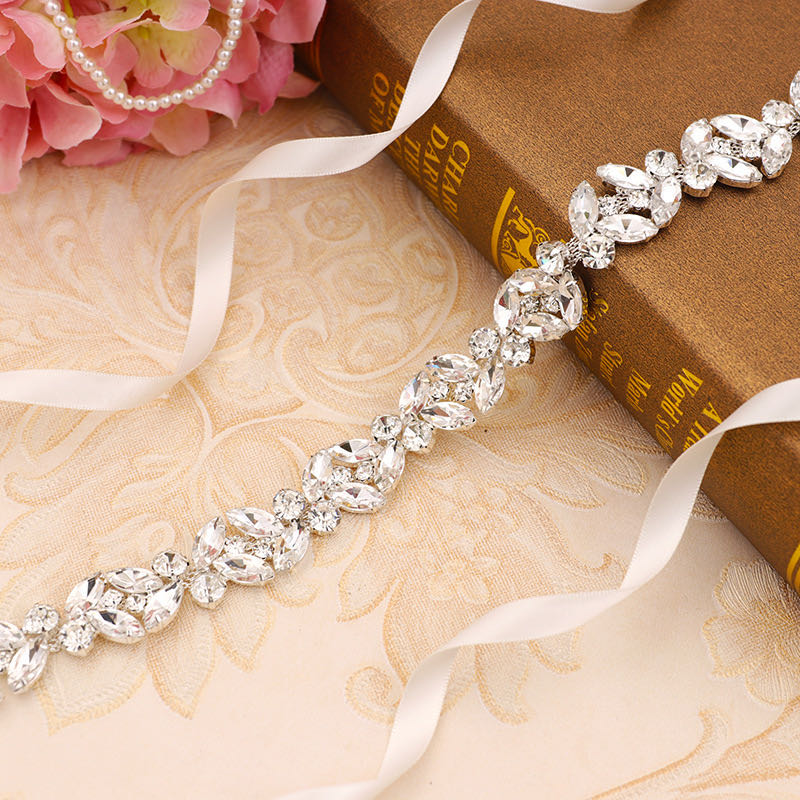 Sash Wedding-Belt Evening-Dress Rhinestones Crystal Bride Women Luxury Ribbon Jewelry