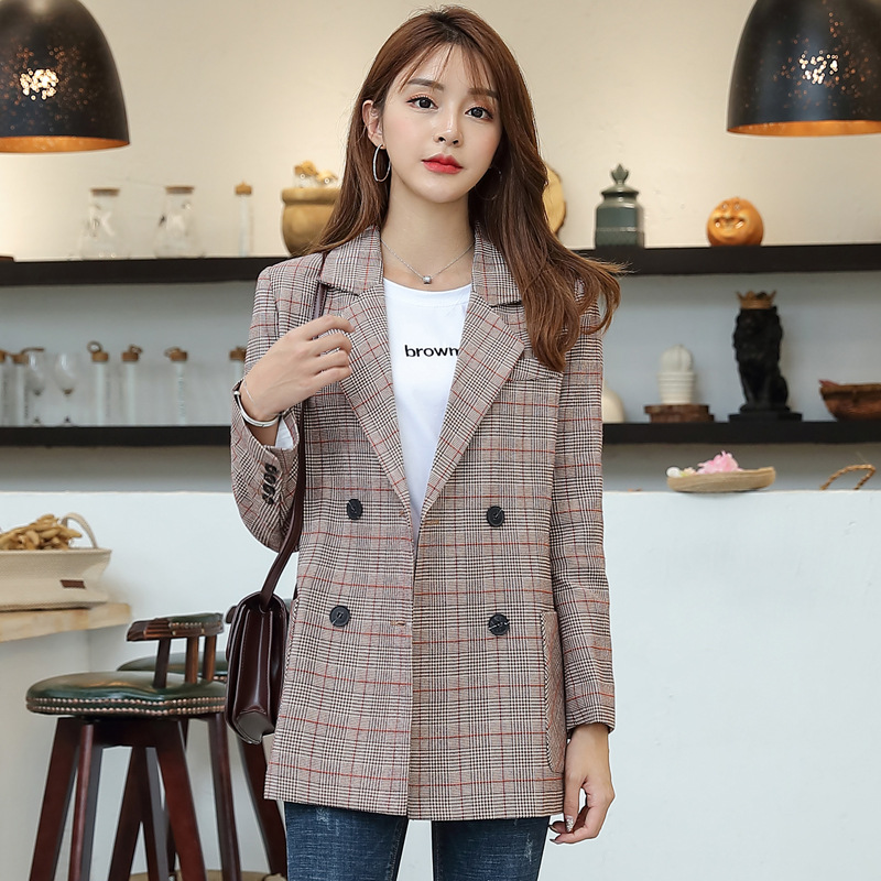 Temperament Casual Women's Jacket 2019 New Plaid Autumn And Winter Ladies Blazer High Quality Double Pocket Office Suit Female