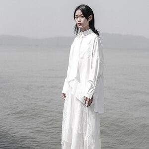 Image 4 - [EAM] 2020 חדש אביב סתיו דש ארוך שרוול לבן Loose Oversize סדיר רופף חולצה נשים חולצה אופנה גאות JS921