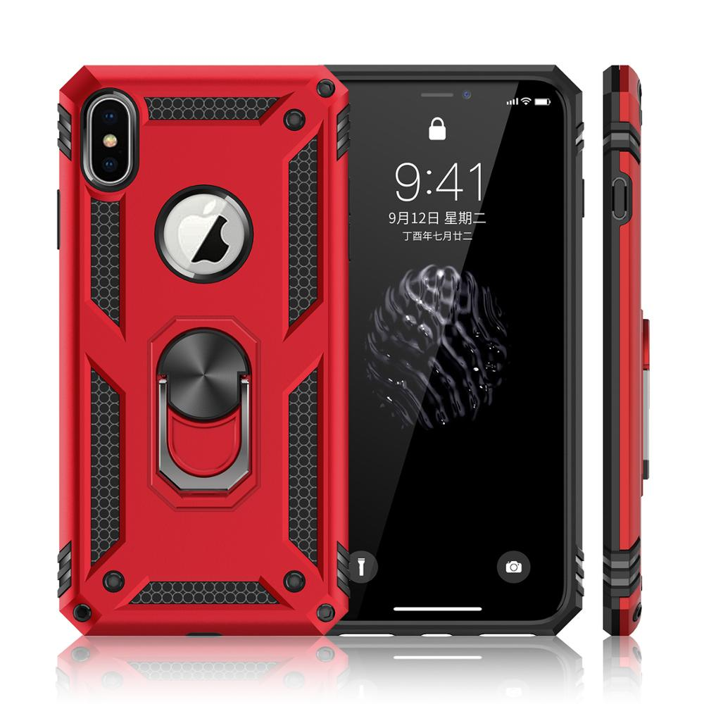 Shockproof Doom Armor Metal Aluminum Phone Cases for iPhone XS MAX XR X 10 6s 7 8 Plus 8Plus Finger Ring Magnetic Suction Cover(China)