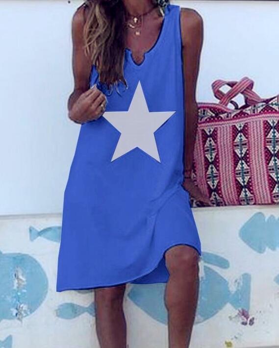 Women 2021 Loose Vintage Star Print Cotton Dress Large Big Summer  Party Beach Dresses Plus Sizes 20