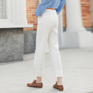 Image 3 - INMAN 2020 Summer New Arrival Literary Pure Cotton Medium Waist Concise Style Irregular Leg Opening Ankle Length Pant