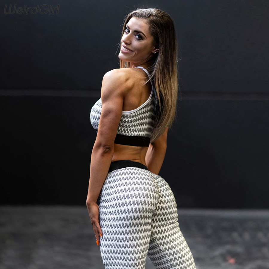 Weirdgirl Women Sportswear Fitness Stipped Two Pieces Suits Stracksuit Casual Sleeveless Tank Top Elastic Gym Leggings 2020