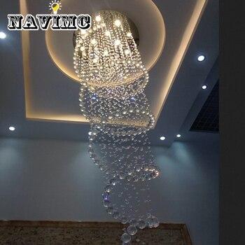 D80cm 현대 led 나선형 광택 크리스탈 샹들리에 비품 계단 호텔 로비 거실 긴 계단 빛