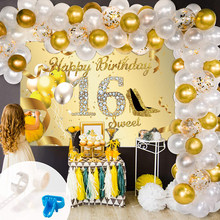 Sweet 16th Birthday Decorations White Gold Balloon Garland Arch Set With Gold Sign Poster Backdrop Birthday Party Supplies
