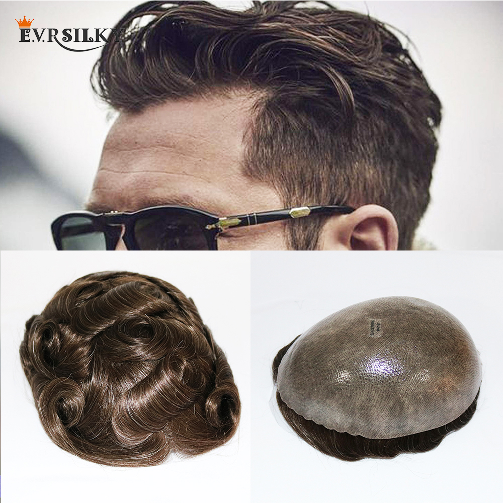 Eversilky Durable Skin Natural Hair Men Toupee Natural Looking Indian Remy Hair Clear Poly Base Human Men Hair Replacements