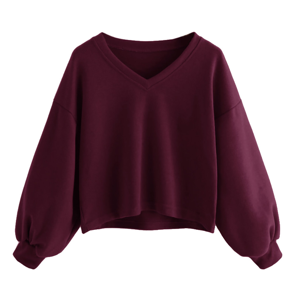 Jaycosin Fashion Women Solid Casual V-neck Lantern Sleeve Sweatshirt Casual Cool Chic New Look Hooded Pullover Tops Blouse 16