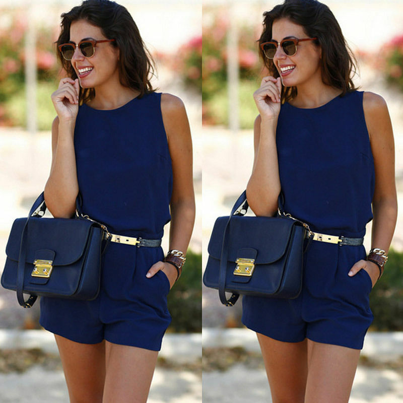Summer 2020 Office Lady Casual Jumpsuit Women Sleeveless Pockets Backless Playsuits Overalls Rompers Clothes for Women