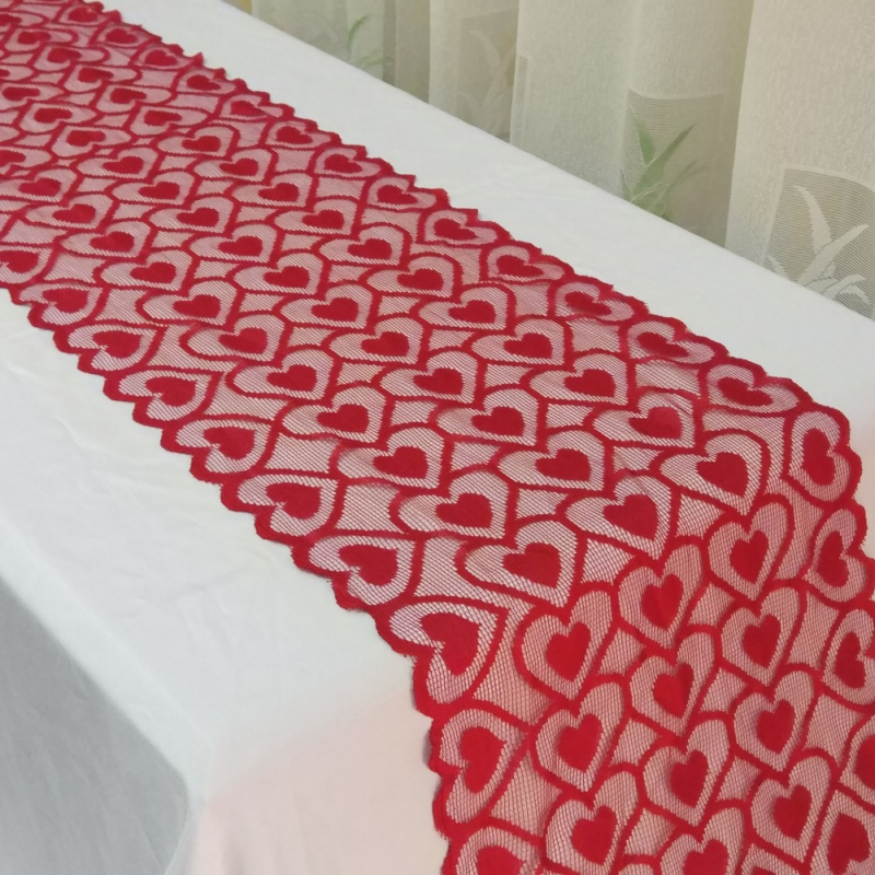 Christmas Party Decoration Table Runners Christmas Wedding Party Decoration Red Lace Love Tablecloth Heart Shaped Table Flag