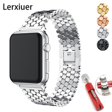 Strap for apple watch 5 band 44mm 40mm iwatch band 42mm 38mm stainless steel watchband metal Bracelet for series 6 4 3 38 44 mm cheap Lerxiuer CN(Origin) 19cm Watchbands New without tags for iwatch series 5 4 3 2 1 buckle For apple watch 3 bands 42mm For correas apple watch