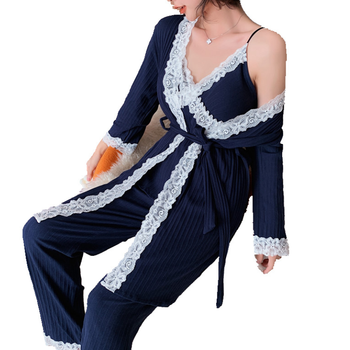 Hot Sale Women's Cotton Long Sleeve Trousers 3 Pieces Pajama Sets Sexy Lace Suspenders Nightgown Autumn Winter Household Cloth
