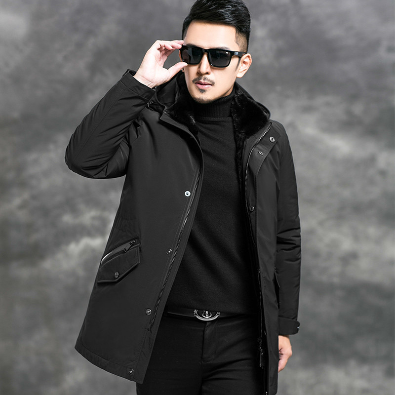 2020 New Parka Winter Jacket Real Fur Coat Men Mink Fur Collar Natural Rabbit Fur Liner Warm Parkas Man 4556 KJ2980