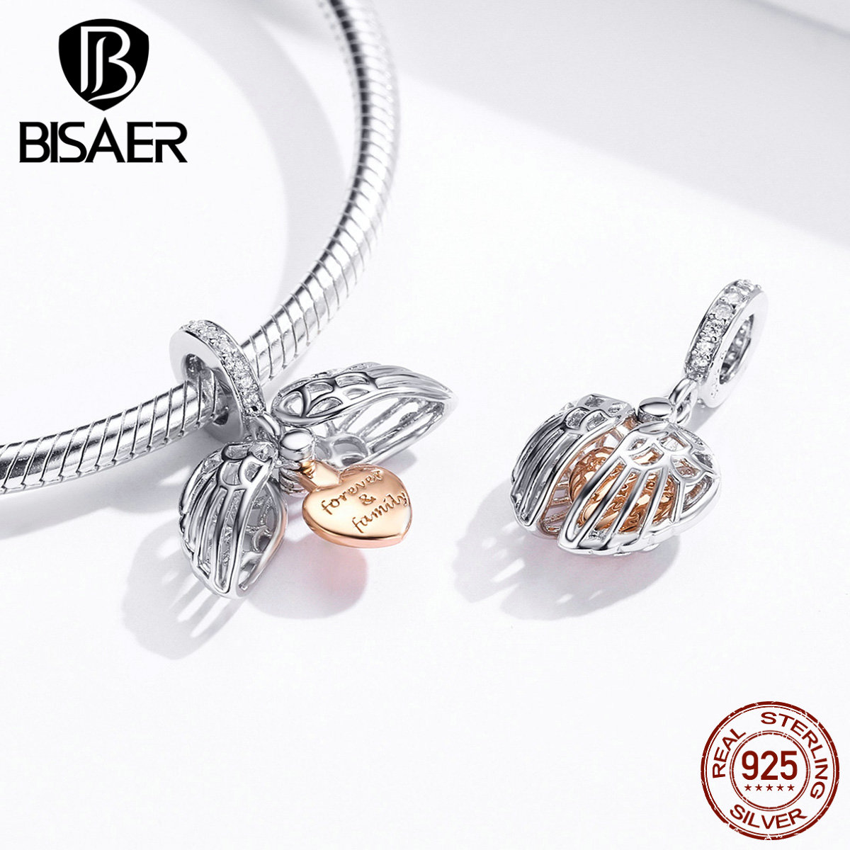 Forever Family Beads BISAER 925 Sterling Silver Family Forever Beads Love Heart Case Charms Fit Bracelets Jewelry Making ECC1299