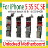 Original Unlocked for iphone 5 5C 5S 5SE SE Motherboard,Disassemble for iphone 5 5g Logic board with IOS System