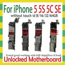 Original desbloqueado para iphone 5 5c 5S 5se se placa mãe, desmontar para iphone 5 5g placa lógica com sistema ios