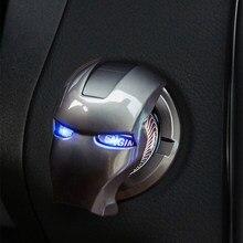 Homem de ferro interior do carro motor de ignição start stop botão interruptor botão capa guarnição adesivo 3d acessórios interiores do carro