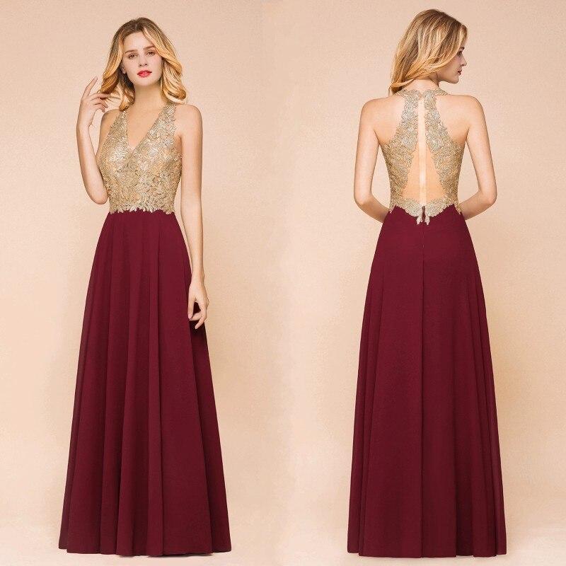 Burgundy Chiffon Long   Bridesmaid     Dresses   2019 Elegant Lace Applique Wedding Party Guest   Dress   V Neck Sleeveless vestido madrinha