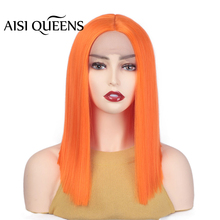 AISI QUEENS Synthetic Lace Front Wigs Purple Gold Orange Pink Short Straight
